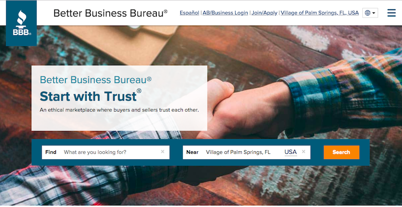Better Business Bureau website