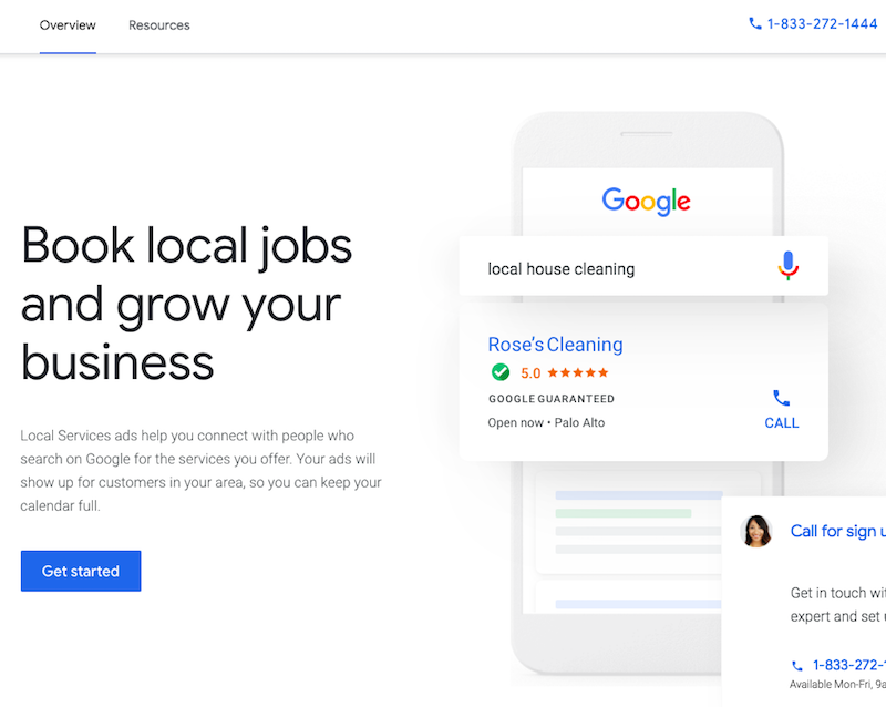 Google Local Services website