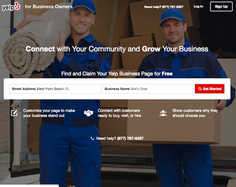 Yelp for Business website